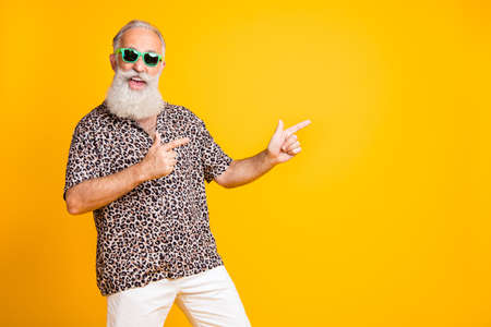 Photo pour Portrait of crazy funny funky old bearded man with eyeglasses eyewear point at copyspace recommend sales discounts wear leopard print shirt isolated over yellow background - image libre de droit