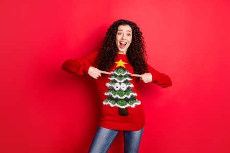 Foto de Portrait of amazed funny funky crazy girl point at her seasonal comfort jumper pullover recommend her sweater with christmas tree decor for theme x-mas noel party isolated over red color background - Imagen libre de derechos