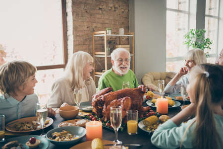 Photo of full family reunion gathering sit feast dishes turkey dinner table communicating fall november holiday multi-generation all ages in evening living room indoors