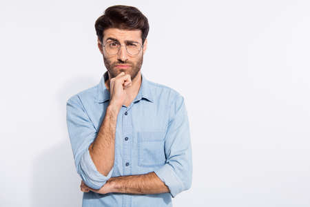 Photo pour I do not trust you. Photo of arabian amazing guy looking suspicious not believe wear specs casual denim shirt isolated white color background - image libre de droit