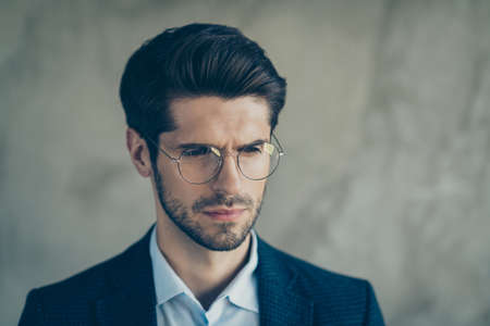 Photo for Close up photo of minded confused businessman look feel thoughtful about start-up problems try find solutions wear classy chic luxury outfit isolated over grey color background - Royalty Free Image