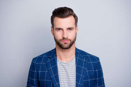 Photo for Close-up portrait of his he nice well-groomed serious attractive calm bearded guy wearing checked blazer isolated over light grey pastel color background - Royalty Free Image