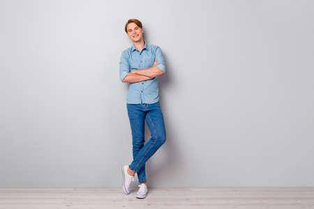 Photo for Full size photo of masculine smat worker guy cross his hands enjoy work job look in camera wear casual style outfit isolated over grey color background - Royalty Free Image