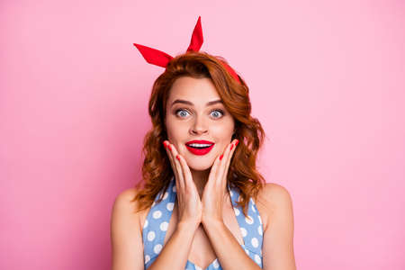 Photo for Omg black friday. Close up photo of funny astonished lady hear incredible bargain impressed scream wow omg wear blue dress polka-dot isolated over pink color background - Royalty Free Image