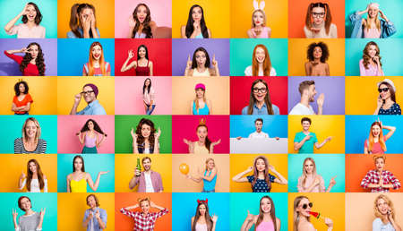 Photo pour Photo collage of group of glad cheerful excited astonished funky scared surprised people person youngsters children having bright facial expressions isolated over multicolored background - image libre de droit