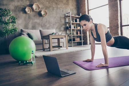 Photo of focused athlete active beautiful girl watch laptop aerobics yoga pilates exercise video doing plank on mat floor wear panties in house indoors
