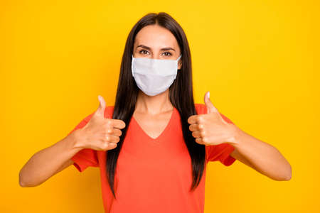Photo pour Close-up portrait of her she nice attractive healthy lady showing two double thumbup advert therapy treatment medicine mers cov flu flue grippe recovery health care isolated yellow color background - image libre de droit