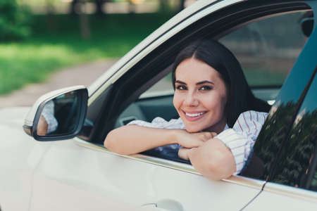 Photo pour Close-up portrait of her she nice attractive gorgeous lovely pretty cheerful content lady enjoying riding cool white vehicle motorway good mood suburb way road - image libre de droit