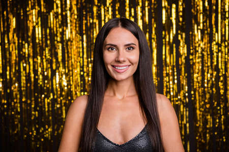Photo pour Photo of young happy positive good mood lovely beautiful gorgeous woman at party isolated on glittered background - image libre de droit