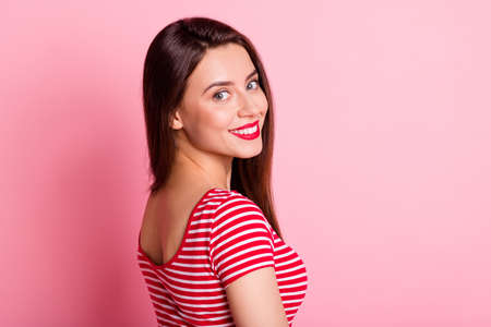 Photo for Profile photo of satisfied person smile turn head to camera wear striped white red isolated on pink color background - Royalty Free Image