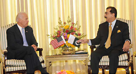 ISLAMABAD /PAKISTAN. Prime Minister Syed Yusuf Raza Gilani is talking to Vice President USA, Mr. Joseph R. Biden at PM's House on January 12, 2011