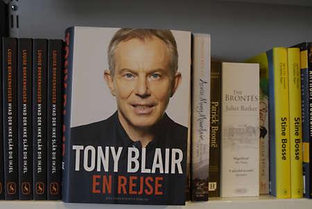 DENMARK / COPENHAGEN _Tony Blair ajourney has been translated into danish language Tony Blair En Rejse on sale at danish book shops  5 March 2011