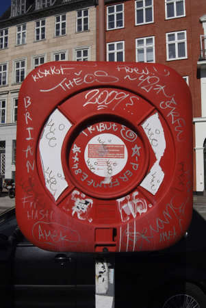 Copenhagen / Denmark.  Rescue set decorated with graffiti art at gl. strand canal 8 April 2013
