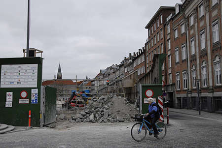 COPENHAGEN /Denmark-   23 anuary  2014_Metro station construction work displeased residential daily life
