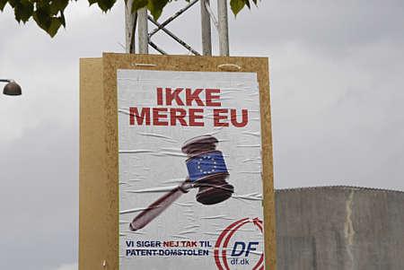 KASTRUP /COPENHAGEN /DENMARK-  Danish peoples party european union parliament elections No more European union and No to European patents        08 May 2014