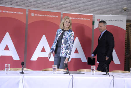 HELSINGOR/HELSINGØR /DENMARK- Social democrat party hold summer meeting at LO skole (lo school)helsingor Ms.Helle Thorning-Schmidt danish prime minister and leader of danish sical democrat party  and other three minister joined her at press conference bef