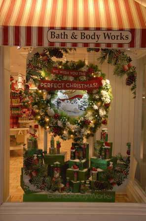 Lewiston /Idaho /USA_ 09 December  2015 _ Christmas window decoration for sale at bath and body works