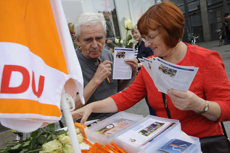 17 September  2016-Lichtenberg-Berlin politicians on elections rally at Frankurter Allee from green party Ms.Antije Kapek SPD social democrat Christian Paulus and from CDU Christine N?nthe and die like today on saturday fr sunday elections     in Berlin/g