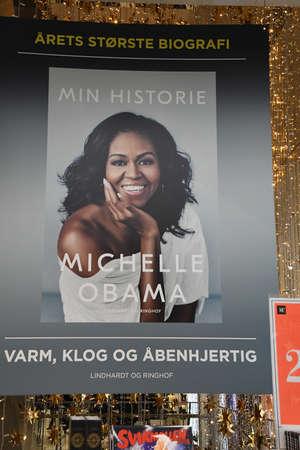 Copenhagen/Denmark 02. December  2018.  Former first lady Michelle Obama  memoir  Living History  transpation in danishb lnague is display for sale in Copenhaen department stor Maga su nord Copenhagen Denmark