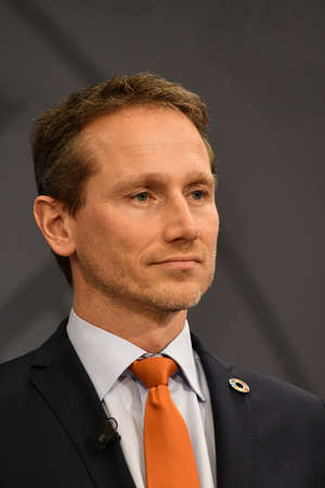 Copenhagen/Denmark. 16.January 2019._  Kristian Jensen anish minister for finance talking to meia in PM office in Copenhagen Denamrk.