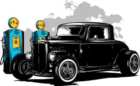 Illustration pour vintage car, hot rod garage, hotrods car,old school car, - image libre de droit