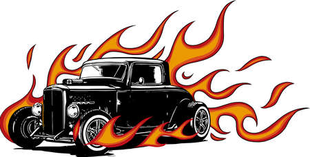 Illustration for vintage car, hot rod garage, hotrods car,old school car, - Royalty Free Image