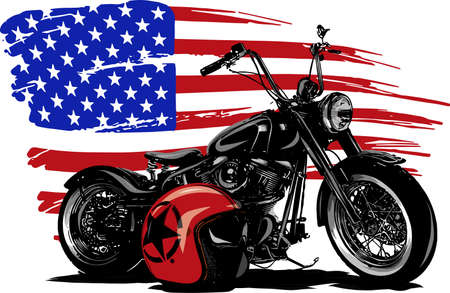 Illustration pour Hand drawn and inked vintage American chopper motorcycle with american flag - image libre de droit