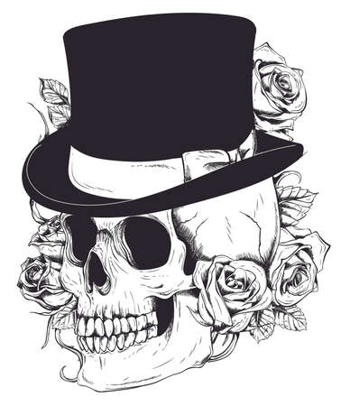 Illustration pour Gentleman s skull. Vintage Skull. Old school tattoo. Skull surrounded by roses with ribbon - image libre de droit