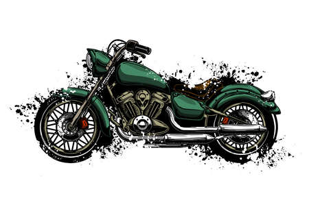 Illustration pour watercolor colorful motorcycle isolated on white - image libre de droit