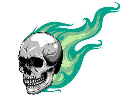 Illustration pour Skull on Fire with Flames Vector - image libre de droit