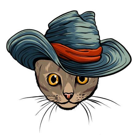 Vector funny British cat hipster in the gray hat, vector