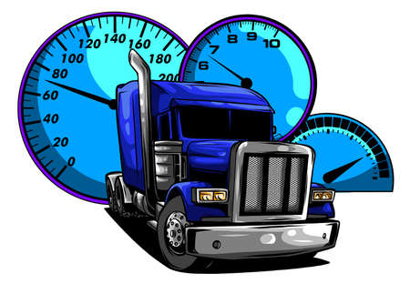 Illustration pour Classic American Truck. Vector illustration with american flag - image libre de droit