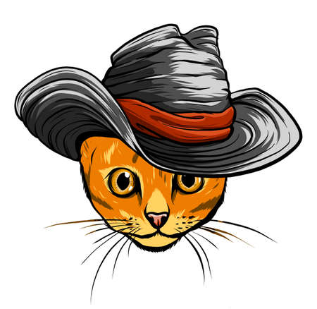Vector cat in a hat and tie. vector illustration