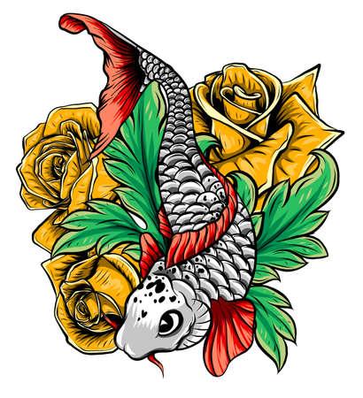 Illustration pour Hand drawn outline Koi fish and water splash Japanese tattoo - image libre de droit