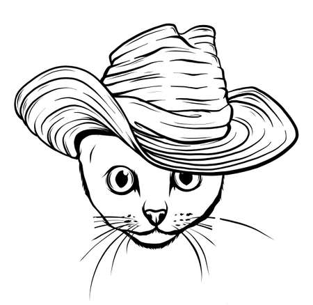 Vector cat in a hat and tie. White and black