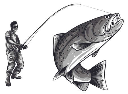 Fisherman in rubber boots with a caught fish and a fishing rod isolated on white background vector