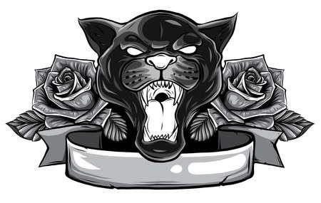 Illustration pour monochromatic Panther snake roses tattoo graphic vector illustration - image libre de droit