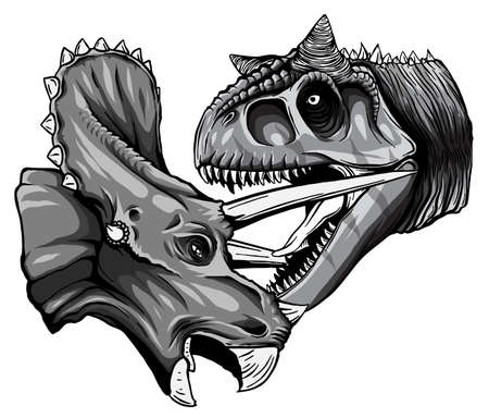 Illustration pour monochromatic Vector tracing of dinosaur Tyrannosaurus is fighting Triceratops in watercolor style - image libre de droit