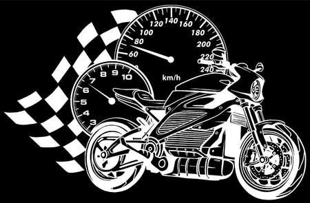 Illustration pour white silhouette of Motorcycle racer sport vector illustration - image libre de droit