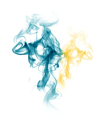 Smoke form blue and yellow