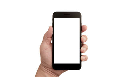 Photo for Left hand of a white man holding a black mobile phone and a white screen at a isolate background - Royalty Free Image