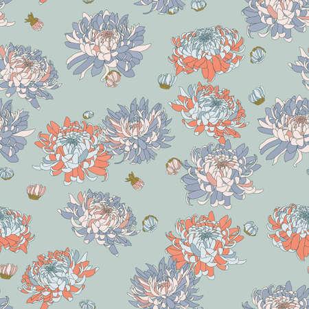 Illustration pour Vector seamless floral pattern. Japanese national flower chrysanthemum. Illustration luxury design, textiles, paper, wallpaper, curtains, blinds - image libre de droit