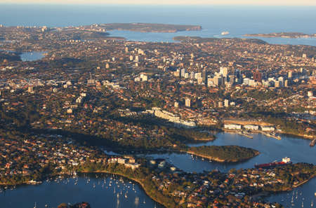 Aerial view of north shore suburbs of Sydney from Chatswood to Manly and North and South Head, Australia