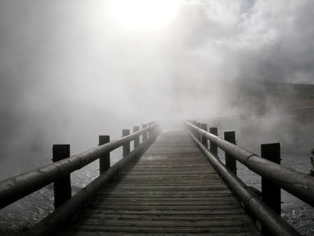 Wooden path into fog