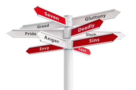 Seven deadly sins on crossroads sign arrows.