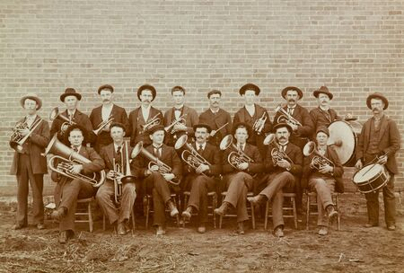 Marching Band from Great Bend, Kansas Vintage 1918 Photograph