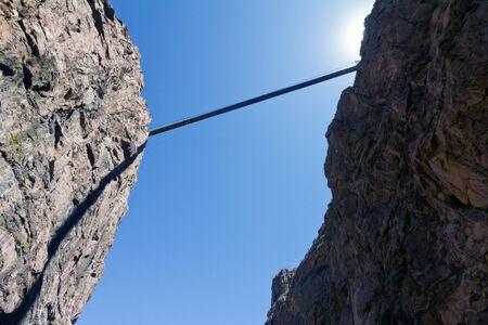 Bridge across rocky canyon in Colorado, USA