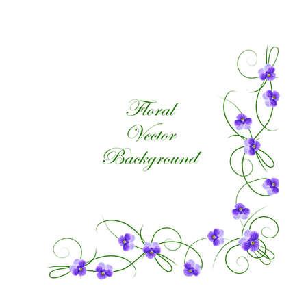 Illustration pour Floral vector background. Corner frame with violet flowers for use in your design. - image libre de droit