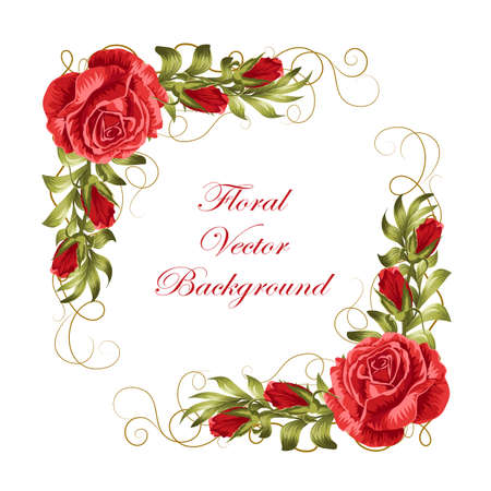 Ilustración de Beautiful frame with red roses and green leaves. Vector illustration isolated on white background. - Imagen libre de derechos