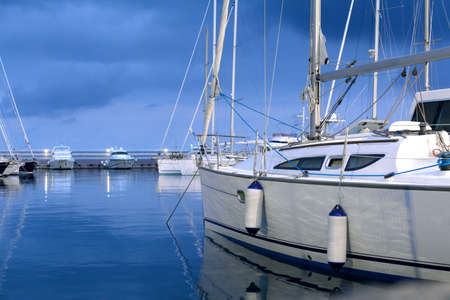 Foto per evening relaxing time on sailing boat in the harbor in Varazze, Italiy - Immagine Royalty Free